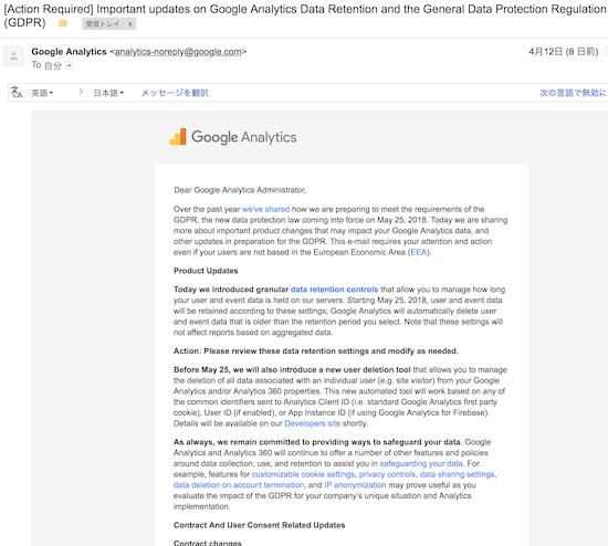Google Analyticsからの英文メール