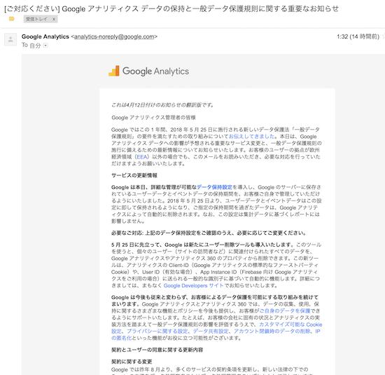 Google Analyticsから翻訳版メール